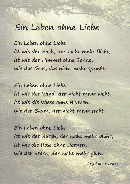 Gedicht fur die liebe des lebens